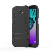Cool Guard Plastic TPU Combo Mobile Phone Case with Kickstand for Samsung Galaxy J6 Plus - Black