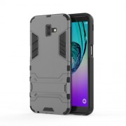 Cool Guard Plastic TPU Combo Mobile Phone Cover with Kickstand for Samsung Galaxy J6 Plus - Grey