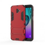Cool Guard Plastic TPU Combo Mobile Phone Shell with Kickstand for Samsung Galaxy J6 Plus - Red