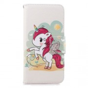 Pattern Printing [Wallet Stand] Leather Phone Case for Samsung Galaxy J6+ / J6 Prime - Unicorn