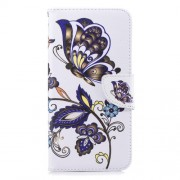Pattern Printing Leather Mobile Case Cover Shell for Samsung Galaxy J6 Plus / J6 Prime - Butterfly and Flower