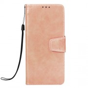 Vintage Oil Buffed PU Leather Stand Cell Phone Cover for Samsung Galaxy J6 Plus / J6 Prime - Rose Gold