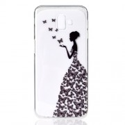 Pattern Printing TPU Protection Phone Case for Samsung Galaxy J6 Plus - Butterfly Girl