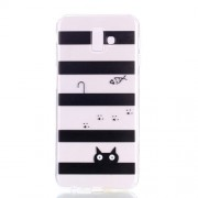 Pattern Printing Soft TPU Cell Phone Cover for Samsung Galaxy J6+ J610 / J6 Prime - Fish and Cat