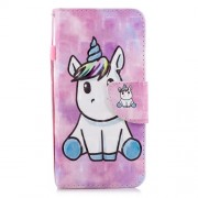 Patterned Light Spot Decor Wallet Stand Leather Flip Cover for Samsung Galaxy J6 (2018) - Unicorn