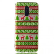 Christmas Pattern Printing TPU Jelly Mobile Shell for Samsung Galaxy A6+ (2018) / A9 Star Lite - Christmas Tree and Reindeer