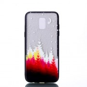 Embossment Pattern Rubberized TPU + PC Hybrid Case for Samsung Galaxy A6 (2018) - Forest