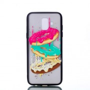 Embossment Pattern Rubberized TPU + PC Hybrid Protective Case for Samsung Galaxy A6 (2018) - Doughnut