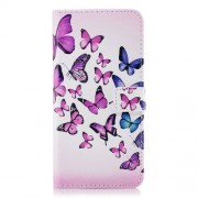Embossed Pattern Leather Wallet Protective Shell for Samsung Galaxy A8 (2018) - Colorful Butterflies