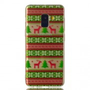 Christmas Pattern Printing Soft TPU Jelly Cellphone Case for Samsung Galaxy A8 (2018) - Christmas Tree and Reindeer