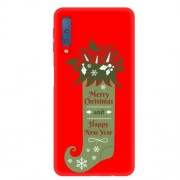 Christmas Pattern Printing Matte TPU Cellphone Case for Samsung Galaxy A7 (2018) - Green Christmas Stockings