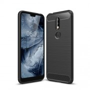 Carbon Fiber Texture Brushed TPU Back Phone Case for Nokia 7.1 - Black