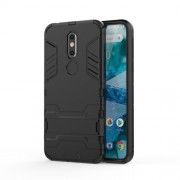 Cool Guard Kickstand Hybrid PC TPU Cell Phone Casing for Nokia 7.1 - Black