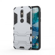 Cool Guard Kickstand Hybrid PC TPU Cell Phone Case for Nokia 7.1 - Silver