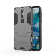 Cool Guard Kickstand Hybrid PC TPU Cell Phone Cover for Nokia 7.1 - Grey