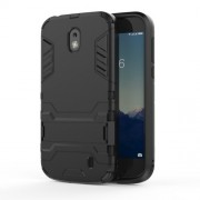 Plastic + TPU Hybrid Case with Kickstand for Nokia 1 - Black
