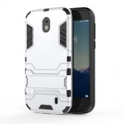 Plastic + TPU Hybrid Back Case with Kickstand for Nokia 1 - Silver