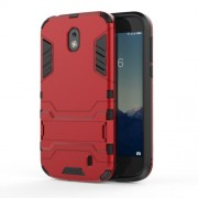 Plastic + TPU Hybrid Cover Case with Kickstand for Nokia 1 - Red