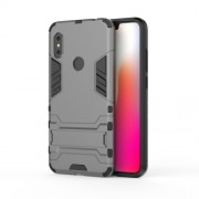 Cool Guard Plastic TPU Hybrid Mobile Phone Casing with Kickstand for Xiaomi Redmi Note 6 Pro - Grey