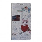 Pattern Printing Wallet Stand Leather Cover for Meizu M6 Note - American Flag and Cat Holding Heart