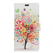 Pattern Printing Wallet Leather Phone Cover with Stand for Meizu M6 Note - Colorful Flower Tree