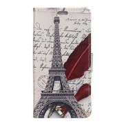 Pattern Printing PU Leather Card Holder Flip Stand Case Cover for Meizu M6 Note - Eiffel Tower and Quill-pen