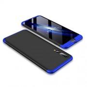 GKK 360 μοιρών Σκληρή Θήκη Ματ με Βελούδινη Υφή Πρόσοψης και Πλάτης για Huawei P20 Pro - Μαύρο / Μπλε