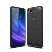 Carbon Fiber Texture Brushed TPU Mobile Phone Casing for Xiaomi Mi 8 Lite / Xiaomi Mi 8 Youth (Mi 8X) - Black