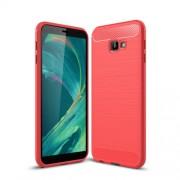 Θήκη Σιλικόνης TPU Carbon Fiber Brushed για Samsung Galaxy J4 Plus - Κόκκινο