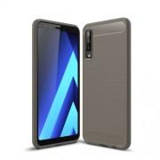 Θήκη Σιλικόνης TPU Carbon Fiber Brushed για Samsung Galaxy A7 (2018) - Γκρι