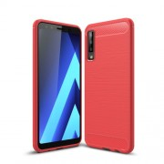 Carbon Fiber Texture TPU Cover Brushed Phone Shell for Samsung Galaxy A7 (2018) - Red