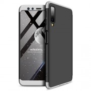 GKK 360 μοιρών Σκληρή Θήκη Ματ με Βελούδινη Υφή Πρόσοψης και Πλάτης για Samsung Galaxy A7 (2018) - Μαύρο / Ασημί