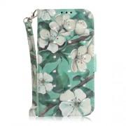 Δερμάτινη Θήκη Πορτοφόλι με Βάση Στήριξης για Samsung Galaxy A7 (2018) - Όμορφα Λουλούδια σε Γαλαζοπράσινο Φόντο