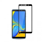 MOCOLO Silk Print Arc Edge Full Coverage Tempered Glass Screen Protector for Samsung Galaxy A7 (2018) - Black