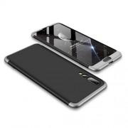 GKK 360 μοιρών Σκληρή Θήκη Ματ με Βελούδινη Υφή Πρόσοψης και Πλάτης για Huawei P20 Pro - Μαύρο/Ασημί