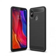 Black - Carbon Fiber Texture Brushed TPU Phone Shell Case for Xiaomi Mi 8 (6.21-inch)