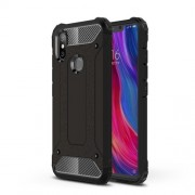 Black - Heavy Duty Rugged Hybrid Phone Case (Plastic + TPU) for Xiaomi Mi 8 SE (5.88-inch)