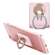 Cartoon Girl Ring Holder Finger Grip 360 Degree Rotation for iPhone Samsung Cellphone - Style A