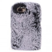 Μαλακή Γούνινη Θήκη Πλάτης με Στρας για iPhone 8 Plus / 7 Plus - Γκρι