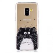 Θήκη Σιλικόνης TPU για Samsung Galaxy A8 (2018) - Μαύρη και Λευκή Γατούλα