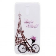 Ultra-thin Patterned Soft TPU Back Mobile Phone Protective Case for Meizu M6 Note - Eiffel Tower and Bike