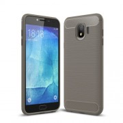 Carbon Fiber Texture Brushed TPU Phone Case Shell for Samsung Galaxy J4 (2018) - Grey