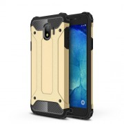 Armor Guard Plastic + TPU Hybrid Protector Cover Shell for Samsung Galaxy J4 (2018) - Gold