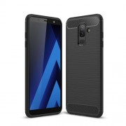 Carbon Fiber Texture Brushed TPU Phone Cover for Samsung Galaxy J8 (2018) - Black