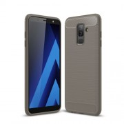 Θήκη Σιλικόνης TPU Carbon Fiber Brushed για Samsung Galaxy J8 (2018) - Γκρι