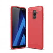 Carbon Fiber Texture Brushed TPU Phone Shell for Samsung Galaxy J8 (2018) - Red