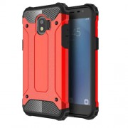 Armor Guard Plastic + TPU Hybrid Mobile Phone Shell for Samsung Galaxy J2 Pro 2018 - Red