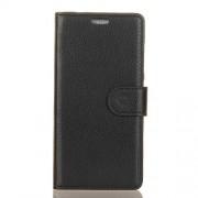 Δερμάτινη Θήκη Πορτοφόλι με Βάση Στήριξης για LG Q7 - Μαύρο