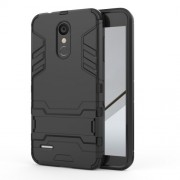 Shockproof PC + TPU Hybrid Kickstand Cellphone Casing for LG K8 (2018) - Black