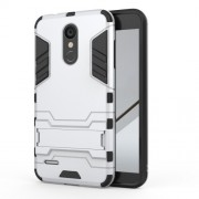 Shockproof PC + TPU Hybrid Kickstand Mobile Casing for LG K8 (2018) - White